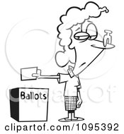 Clipart Black And White Outline Cartoon Female Voter With A Nose Plug Putting Her Ballot In A Box Royalty Free Vector Illustration by toonaday
