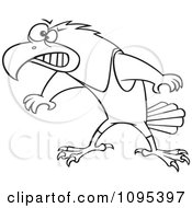 Clipart Black And White Outline Cartoon Wrestler Hawk Ready To Fight Royalty Free Vector Illustration
