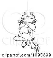 Clipart Black And White Outline Cartoon Man Hung Upside Down In A Straitjacket Royalty Free Vector Illustration