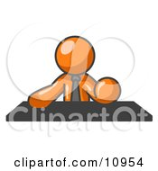 Orange Businessman Seated At A Desk During A Meeting Clipart Illustration by Leo Blanchette