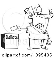 Clipart Black And White Outline Cartoon Voter With A Nose Plug Putting His Ballot In A Box Royalty Free Vector Illustration by toonaday