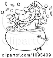 Clipart Black And White Outline Cartoon St Patricks Leprechaun Playing In A Pot Of Gold Royalty Free Vector Illustration by Ron Leishman