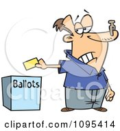 Cartoon Voter With A Nose Plug Putting His Ballot In A Box