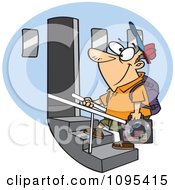 Clipart Cartoon Tourist Man Boarding An Airplane Royalty Free Vector Illustration