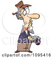 Clipart Cartoon Photographer Chimping A Glance On His Camera Display Royalty Free Vector Illustration