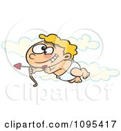 Clipart Cartoon Baby Cupid Flying In The Sky With An Arrow Royalty Free Vector Illustration by toonaday