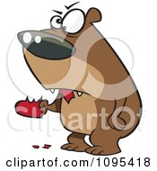Clipart Cartoon Angry Bear Eating A Heart Royalty Free Vector Illustration by toonaday