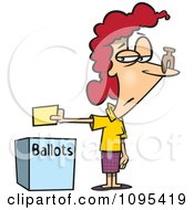 Clipart Cartoon Female Voter With A Nose Plug Putting Her Ballot In A Box Royalty Free Vector Illustration