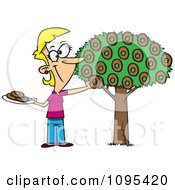 Clipart Cartoon Happy Woman Picking Donuts From A Tree Royalty Free Vector Illustration by toonaday