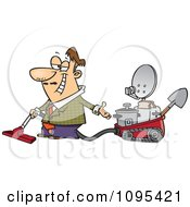 Clipart Cartoon Male Inventor Introducing His Five In One Machine Royalty Free Vector Illustration