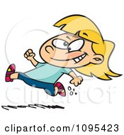 Cartoon Little Girl Running