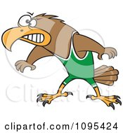 Clipart Cartoon Wrestler Hawk Ready To Fight Royalty Free Vector Illustration