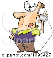 Clipart Cartoon Low Tech Man Using A Can Phone Royalty Free Vector Illustration