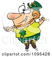 Clipart Cartoon St Patricks Leprechaun Jumping Up And Down Royalty Free Vector Illustration by toonaday