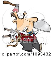 Clipart Cartoon Murder Mystery Server Man With An Axe In His Head And Knives In His Back Royalty Free Vector Illustration by toonaday