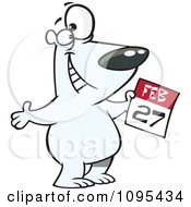 Clipart Polar Bear Holding A February 27 Calendar For Polar Bear Day Royalty Free Vector Illustration by toonaday