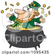 Clipart Cartoon St Patricks Leprechaun Playing In A Pot Of Gold Royalty Free Vector Illustration