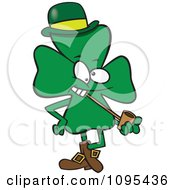 Clipart Cartoon St Patricks Day Shamrock Smoking A Pipe Royalty Free Vector Illustration by toonaday