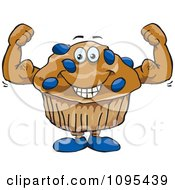Clipart Strong Protein Blueberry Stud Muffin Flexing Its Bicep Muscles Royalty Free Vector Illustration by Dennis Holmes Designs