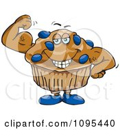 Clipart Strong Protein Blueberry Stud Muffin Flexing Its Muscles Royalty Free Vector Illustration