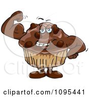 Clipart Strong Protein Chocolate Stud Muffin Flexing Its Muscles Royalty Free Vector Illustration