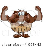 Clipart Strong Protein Chocolate Stud Muffin Flexing Its Bicep Muscles Royalty Free Vector Illustration by Dennis Holmes Designs