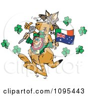 St Patricks Day Leprechaun In A Kangaroo Pouch With Flags And Shamrocks