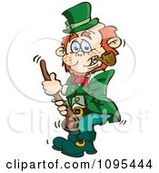 Clipart St Patricks Day Leprechaun Holding A Shalaylee Walking Stick Royalty Free Vector Illustration