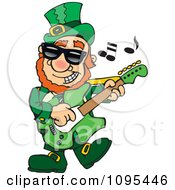 Clipart St Patricks Day Leprechaun Playing Rock And Roll St Patrock Royalty Free Vector Illustration by Dennis Holmes Designs