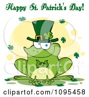 Happy St Patricks Day Greeting Over A Frog Wearing A Shamrock Hat