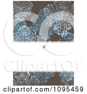 Clipart Distressed Blue And Brown Damask Invitate With Copyspace Royalty Free Vector Illustration