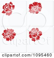 Clipart Four Red Flowers And White Copyspace Invitations Royalty Free Vector Illustration
