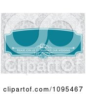 Clipart Turquoise Please Join Us To Celebrate Our Wedding Frame With Copyspace Over Gray Floral Royalty Free Vector Illustration