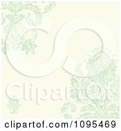 Clipart Pastel Green And Beige Damask Background With Copyspace Royalty Free Vector Illustration