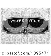 Clipart Youre Invited Please Join Us To Celebrate This Event Frame With Copyspace Over Gray Floral Royalty Free Vector Illustration