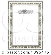 Clipart Black Ornamental Wedding Invitation Frame With Swirls And Copyspace Over Beige 3 Royalty Free Vector Illustration
