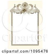 Clipart Vintage Biege And White Ornamental Peacock Wedding Invitation Frame Royalty Free Vector Illustration