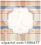 Clipart White Frame Over A Plaid Pattern Royalty Free Vector Illustration