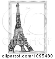 Clipart Vertical Black And White Eiffel Tower And Frame With Swirls Royalty Free Vector Illustration