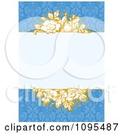 Clipart Yellow Floral Invitation Frame With Copyspace Over A Blue Pattern Royalty Free Vector Illustration
