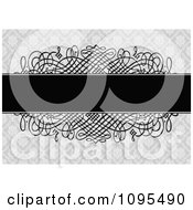 Clipart Black Text Bar Over Swirls And A Gray Floral Pattern Wedding Invitation Design Royalty Free Vector Illustration