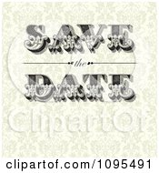 Clipart Vintage Save The Date Text With Copyspace On Beige Floral Royalty Free Vector Illustration by BestVector