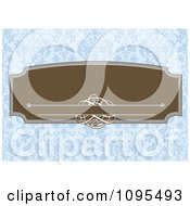 Clipart Retro Brown Frame With Swirls Over A Blue Floral Pattern Royalty Free Vector Illustration