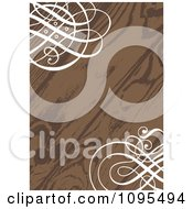Clipart Wood Grain Wedding Invitation With Ornate White Swirls In The Corners Royalty Free Vector Illustration