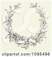 Bow Tied On An Ornate Laurel Wreath With Copyspace On Beige