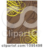Clipart Wood Grain Wedding Invitation With Ornate Yellow Swirls In The Corners Royalty Free Vector Illustration
