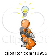 Smart Orange Man Seated With His Legs Crossed Brainstorming And Writing Ideas Down In A Notebook Lightbulb Over His Head