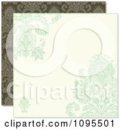 Clipart Pastel Green And Beige Damask Background With Copyspace Over Green Damask Royalty Free Vector Illustration