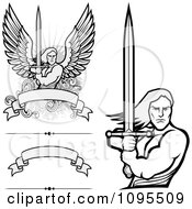 Clipart Male Angel Warriors Holdinh Swords And Blank Banners Royalty Free Vector Illustration by BestVector