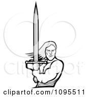 Clipart Strong Male Warrior Holding A Sword Royalty Free Vector Illustration by BestVector